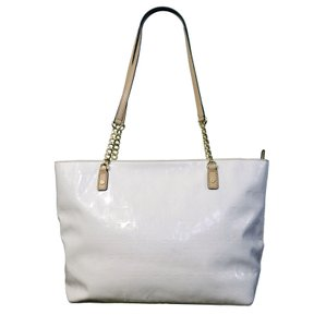 Michael Kors Embossed Mk Logo Patent Leather Chain Tote in White