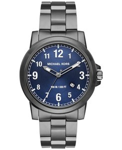 Michael Kors Michael Kors Mens Paxton Stainless Steel Watch Blue Dial Gunmetal Band Mk8499