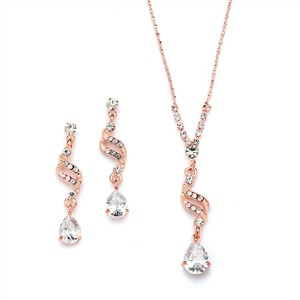 Mariell New! Dainty Necklace & Earrings Set With Cz Teardrops 3668s-rg