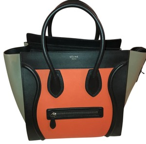 Cline Tote in tri color: black, orange, beige