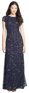 Adrianna Papell Beaded Embellished Gown Scoop Back Mob Dress