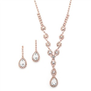 Mariell New! Dramatic Rhinestone Prom Or Wedding Necklace Set With Pear Drops