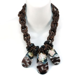 Other Island Braided Seed Bead Necklace w/ Shell Accents