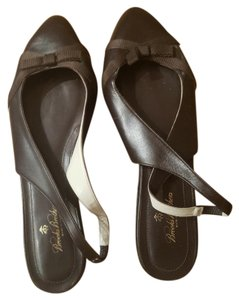 Brooks Brothers Womens Slingback Leather Brooks Dark Brown Flats