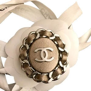 Chanel CHANEL CC Logo Gold Bronze Leather Pin Brooch -not available in U.S.-