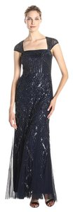 Adrianna Papell Fully Beaded Embellished Bead Open Back Mob Dress