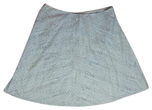 Coldwater Creek Striped Skirt White Gray