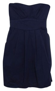 Trixxi short dress Navy Blue Strapless Pockets on Tradesy