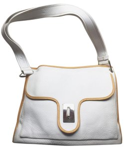 Hogan Satchel in White with Tan Trim
