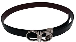 Salvatore Ferragamo Reversible Leather Belt black/oxblood size 30-32...