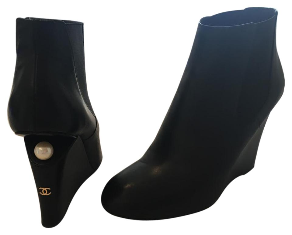 9e9c65200e Chanel Black 15p 2015 Leather Wedge Pearl Heel Ankle Boots/Booties ...