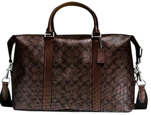 Coach Duffle Voyager Weekender Signature Brown and black Travel Bag