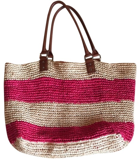 J.Crew Tote Red and Natural Straw Leather Beach Bag