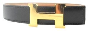 Herms #10078 24mm H Gold Size 70 reversible belt gold on black