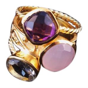 The Queens Closet Cluster Stack Ring in Amethyst Pink Quartz & Topaz NWOT 18k Gold