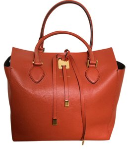 Michael Kors Collection Mrsp $1195 Pebbled Leather Suede Interior Tote in Orange