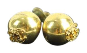 Chanel RARE CC Large Ball Stud Pierced Earrings Gold tone