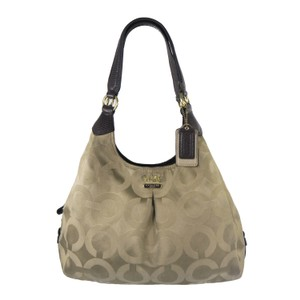 Coach Signature Sateen Jacquard Embossed Leather Gold Hardware Shoulder Bag