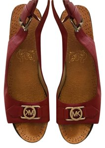 Michael Kors Grommets Leather Red Wedges