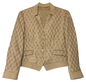 Etro Gold Metallic Checkered Blazer