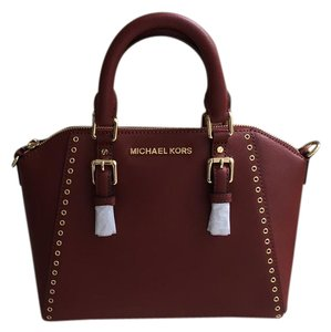MICHAEL Michael Kors Ciara Saffiano Crossbody Grommet Satchel in Brick Red