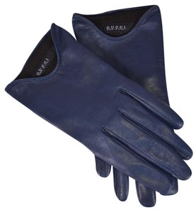 Gucci Gucci Women's 331694 Blue Nappa Leather Interlocking GG Gloves Size 7