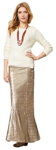 Anthropologie Sequin Glitter Maxi Skirt Gold
