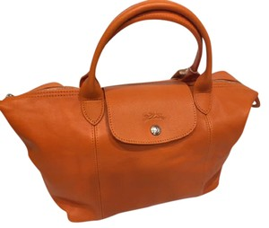 Longchamp 1512-737 Le Pliage Cuir Leather Le Pliage Leather Tote in Orange