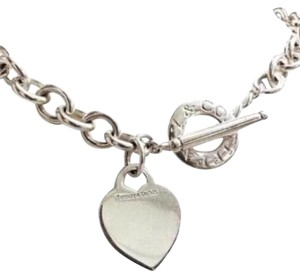 Tiffany & Co. GORGEOUS!!! Tiffany & Co Heart and Toggle Necklace Sterling Silver 16