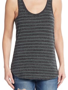 James Perse Striped Summer Top Grey and Green