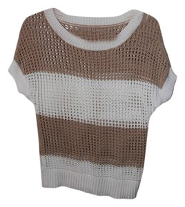 Ann Taylor LOFT Top White and light brown