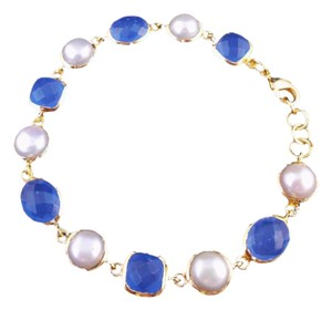 The Queens Closet Freshwater Pearl w Blue Chalcedony Chain Link Bracelet NEW 18K Gold