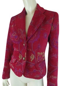 Idea Fitted Brocade Floral Textured Pockets Wine, Floral Blazer