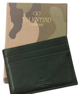 Valentino Camouflage Leather & Canvas Card Case