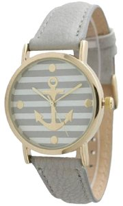 Geneva Women's Geneva Striped Anchor Style Leather Watch - Grey