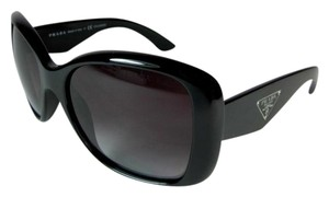 Prada Wrap - Shiny Black & Logo, Polarized Sunglasses Unisex