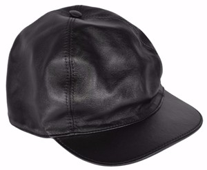 Gucci Gucci Men's 368361 Black Calf Leather Baseball Cap Hat SMALL