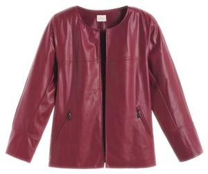 Chico's Deep Red Leather Jacket