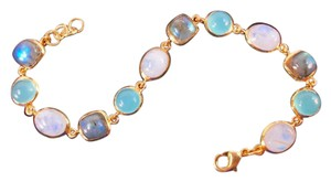 The Queens Closet Blue Chalcedony Moonstone & Labradorite Link Bracelet NEW 18K Gold