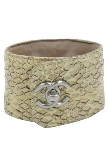 Chanel Chanel Beige and Brown Quilted Python Silver CC Logo Cuff Bracelet