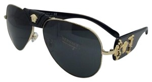 Versace New VERSACE Sunglasses VE 2150-Q 1002/87 Gold & Black Aviator w/Grey
