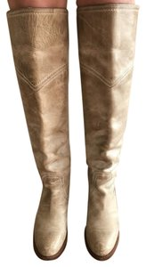 Frye Leather Distressed Taupe Distressed Boots