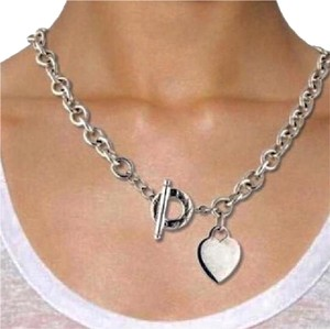 Tiffany & Co. RARE SIZE!!! Tiffany & Co Heart and Toggle Necklace Sterling Silver 15.5