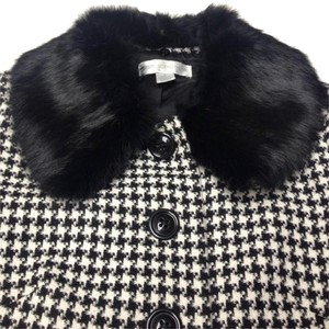 Petite Sophisticate Genuine Rabbit Fur Collar Houndstooth Skirt Suit. Real Fur