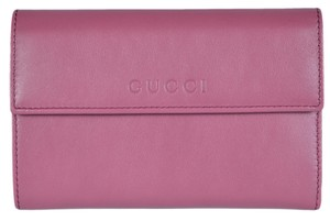 Gucci Gucci Women's 346057 Peonia Pink Leather French Wallet W/Coin Pocket