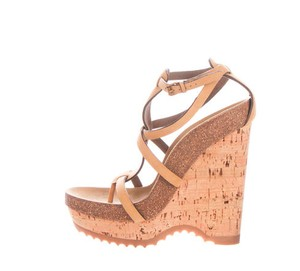 Stella McCartney Suede Vegan Wedge Strappy Brown/Tan Wedges