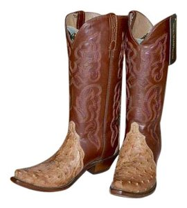 Lucchese Ostrich Hand Crafted Cowgirl Western Distressed Turquoise, Distressed Chocolate & Cream Colored Accents Boots