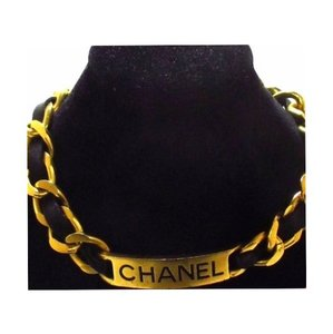 Chanel Gold & Leather Chanel ID Plate Choker