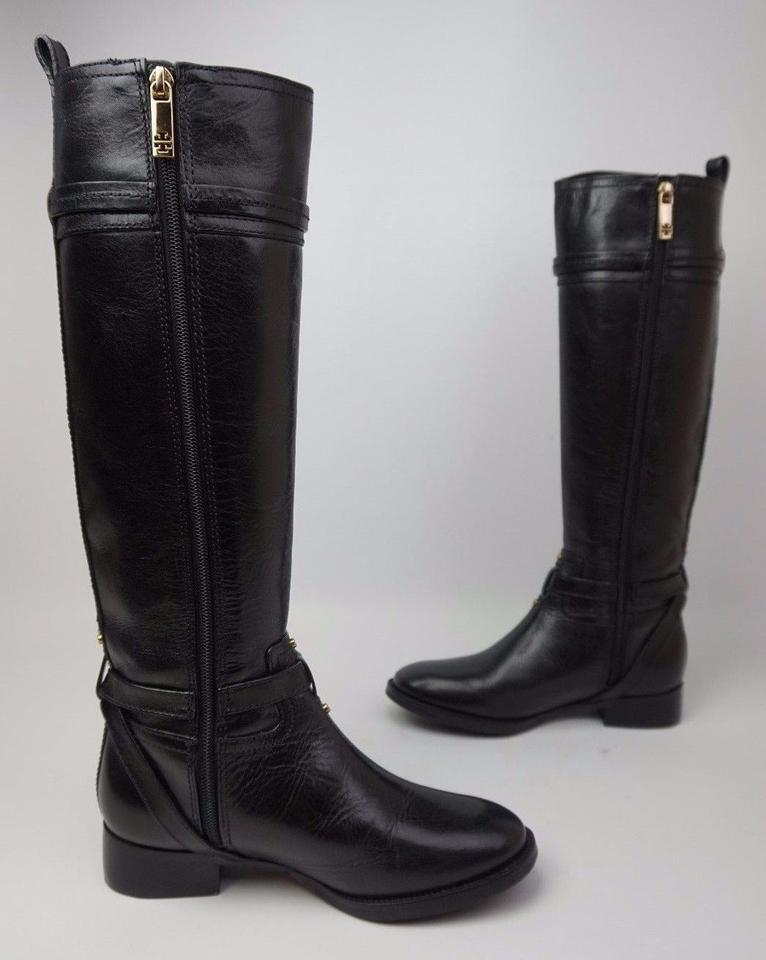 c6ff3048c00 Tory Burch Black Calista Riding Flat Tall Leather Gold Logo Boots Booties.  Size  US 5 ...