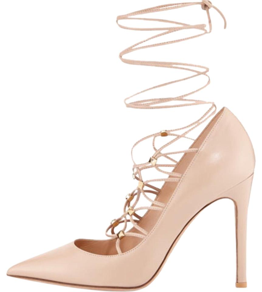 f3135b43c59 Valentino Poudre Rockstud Lace-up Pointed-toe Pumps Size US 6.5 ...